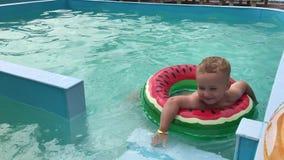 Troszkę pływa w basenie chłopiec z nadmuchiwanym okręgiem