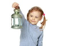Troszkę trzyma lampę dziewczyna Obrazy Royalty Free