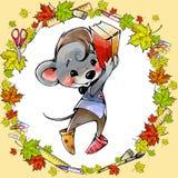 Troszkę mysz z szkolnymi dostawami Obraz Stock