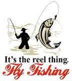 Trota di cattura del pescatore della mosca illustrazione vettoriale