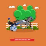 Trotador que corre com side-car e cavaleiro Raça de chicote de fios, vetor Imagem de Stock