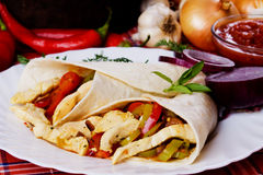 Trotilla wraps with chicken meat Stock Image
