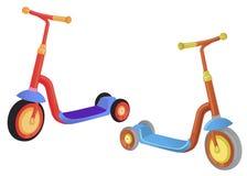 'trotinette' bonito do pontapé da cor dois Empurre o 'trotinette' isolado no fundo branco Transporte de Eco para crianças Ilustra Foto de Stock