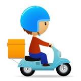 'trotinette' dos desenhos animados da entrega com a caixa alaranjada grande Fotografia de Stock Royalty Free