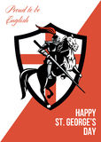 Trots om Engelse Gelukkige St George Day Retro Poster te zijn Stock Foto's