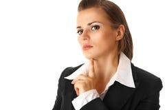 Trotse moderne bedrijfs geïsoleerdel vrouw Royalty-vrije Stock Foto