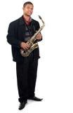Trotse saxophonsit Royalty-vrije Stock Foto's