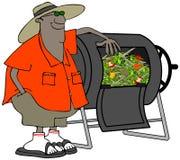 Trotse tuinman en zijn compostbak Royalty-vrije Stock Afbeeldingen