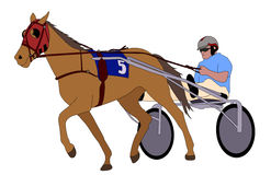 Trotter in harness illustration. Vector Stock Image
