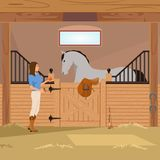 Trotter In Stall Flat Composition. Girl with apple near grey trotter in stall with horseshoes, saddle and whip flat composition vector illustration Royalty Free Stock Photos