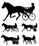 Trotters race silhouettes Royalty Free Stock Photo