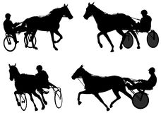 Trotters race silhouettes Royalty Free Stock Images