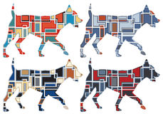 Trotting dog mosaics Stock Images