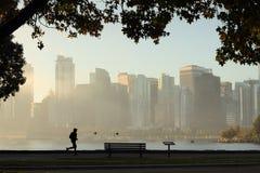Trotto di mattina della sosta di Stanley, Vancouver fotografia stock