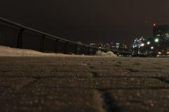 trottoar natt Vinter Royaltyfria Bilder