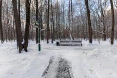 Trottoarer i Ostankinoen parkerar moscow Arkivfoton