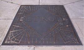 Trottoarplatta i Detroit Royaltyfria Foton