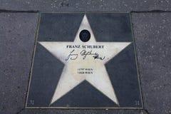 Trottoarstjärna för Franz Schubert fotografering för bildbyråer