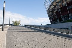 Trottoir antidérapant au stade à Varsovie Images stock