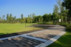 Trottoir circulaire autour de terrain de jeu herbeux dans la ville du résumé ensoleillé photographie stock libre de droits