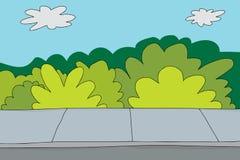 Trottoir et buissons Image libre de droits