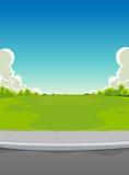 Trottoir et fond vert de stationnement illustration libre de droits