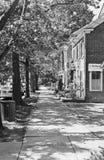 Trottoir, Main Street, banlieue noire de Cranbury, NJ Photos stock
