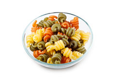 Trottole Tricolore in bowl with clipping path Stock Photos