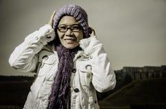 Trotzen der Kälte Stockfotos
