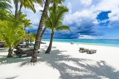 Trou辅助biches,在毛里求斯海岛,非洲的公开海滩 免版税库存照片