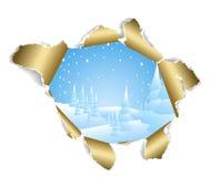 Trou à l'horizontal neigeux de l'hiver Photographie stock