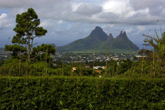 Trou aux cerfs mauritius. Cloudy mountain plant tree and hill in trou aux cerfs mauritius Stock Images