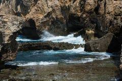 Trou bleu et la fenêtre azurée effondrée Gozo, Malte images libres de droits