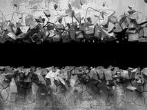 Trou cassé criqué foncé dans le mur en béton Fond grunge illustration libre de droits