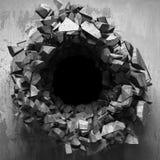 Trou cassé criqué foncé dans le mur en béton Fond grunge illustration stock