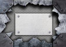 Trou déchiré en métal, plat en acier de maille, 3d, illustration Images libres de droits