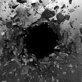 Trou d'explosion dans le mur criqué en béton Fond industriel photos stock