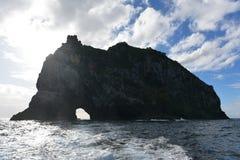Trou dans la formation de roche ? la baie des ?les au Nouvelle-Z?lande photos libres de droits