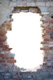 Trou dans le mur de briques avec l'espace de copie image stock
