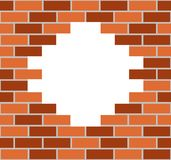 Trou dans un mur de briques de couleur illustration stock