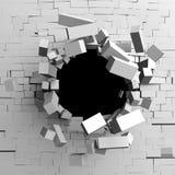 Trou de destruction d'un mur de briques cassé blanc illustration libre de droits