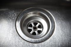 Trou de fiche de bassin d'acier inoxydable Image libre de droits