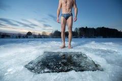 Trou de glace Photographie stock