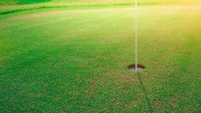Trou de golf sur vert mis photo libre de droits