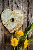 Trou de la serrure - coeur et pissenlits rouillés sur le vieux bois Tir vertical Photographie stock libre de droits