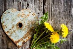 Trou de la serrure - coeur rouillé et pissenlits jaunes sur le vieux backgro en bois Photographie stock libre de droits