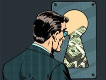 Trou de la serrure financier d'argent d'agent de sécurité illustration stock