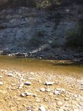 Trou de pêche sur la rivière de Nordegg Photo libre de droits