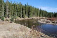 Trou de pêche sur la rivière de Pembina Images stock