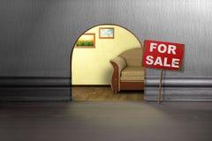 Trou de souris dans le mur avec le signe à vendre Photographie stock